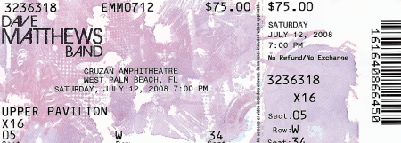 Scanned image of Dave Matthews Band Ticket for Saturday July 12, 2008 performance at Cruzan Amphitheater West Palm Beach, Florida
